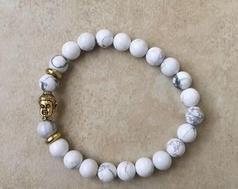 White Stone Buddha Bracelet