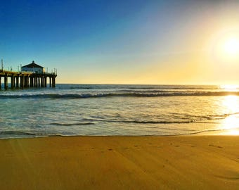 Manhattan Beach Pier at Sunset Photograph Print, Ocean, Water, Beach Life, Los Angeles California, Home Decor, Wall Art, Photography