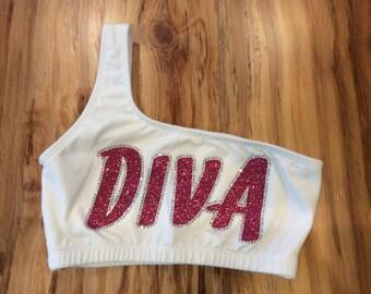 Diva One Shoulder Sports Bra- Adult S