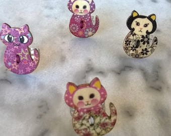 Colorful wooden cat ring/ cats/ handmade/ kitties/ colors