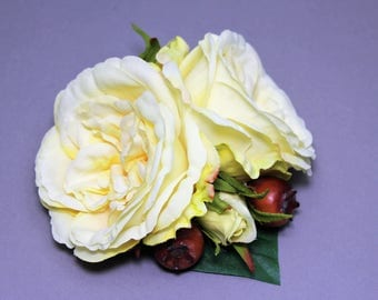 """Vintage inspired hair flower, Hairflower, barrette, """"Yellow Roses"""""""