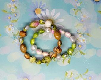 Set of Two Bracelets, Green Pearl Bracelet, Green Beach Bracelet, White Green Beige Bracelet, Charity Bracelet, Charity Donation