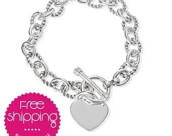 Heart Charm Bracelet.Tiffany.Tiffany and co.Silver Sterling.Heart.Tag Charm.Bracelet.Chunky.Chain Bracelet.Heart Charm (Link Heart Bracelet)