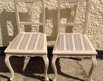 Stunning pair of French/Scandi  Style chairs Hand Painted
