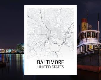Baltimore Maryland USA Map Print
