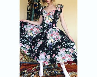 80s floral sweetheart dress