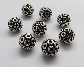 8 Pieces 925 Sterling Silver Bali Beads 8.5mm Round