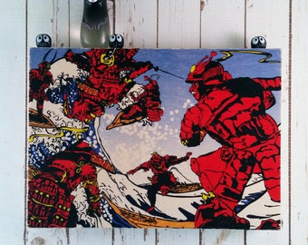 Traditional Japanese style Samurai Wood Block Art || Sustainable Wood || Ready to Hang Gift ||