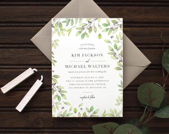Fresh Greens Watercolor Wedding Invitation Set