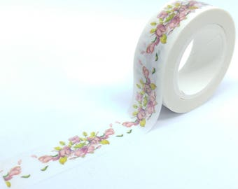 Washi Tape patterns branches 10Mx15mm pink and white flowers nature