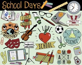 School Clipart, back to school clipart, school clip art, school doodles, autumn clipart, teacher clipart, printable school, college clipart