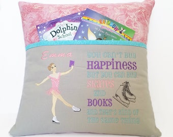 Ice Skating Reading Pocket Pillow - You can't buy Happiness but you can buy Skates and Books and that's kind of the same thing