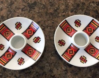 Vintage Ukrainian Candle Holders Red Black Yellow 1970s