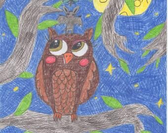 Owl, bat, mosquito original art print