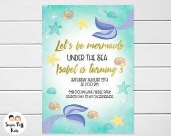 Mermaid Birthday Invitation For Girl, MermaidTheme Birthday Invitation, Under The sea Mermaid Birthday Invitation, Faux Gold Mermaid Invite