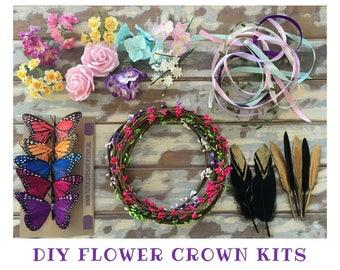 5 diy flower crown kit headband garland party favour girls princess fairy floral tiara craft