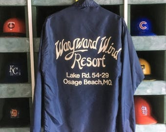 Vintage 1980s Lake of the Osage Beach Resort Full Snap Windbreaker Jacket - Lake of the Ozarks