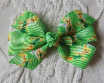 Tinker Bell Hair Bow - Disney hair bow for girl, Hair bow, Girl hair bow, Toddler hair bow, Hair bow for little girl, Hair clip for girl