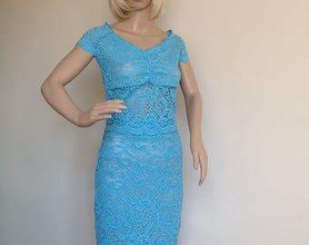 Blue lace pencil skirt in small-medium size