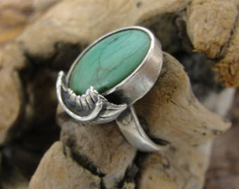 Cullquipuma Simple Sterling Silver Bezel Set Turquoise Ring U.S. Size 8