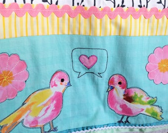 Decorative Dishtowel Hand Towel Kitchen Towel Love Birds Tweet Embellished Appliqued Aqua Pink Trims Hostess Gift Housewarming Tea Towel Art