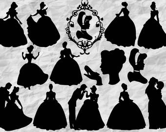 14 Cinderella Silhouettes | Cinderella SVG cut files | Cinderella Cliparts | Cinderella printable | vectors | digital files | vinyldesign