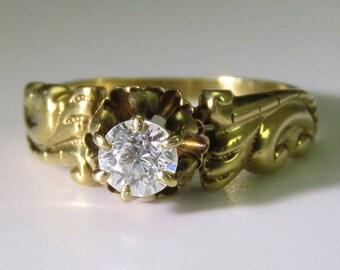 Antique c1880s-1890s Dazzling 14k Gold ~.33ct Diamond Ring sz 3