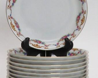 Set 12 Rare Czech Epiag Floral Coupe Soup Bowls 9561