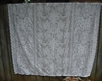 White Floral Vintage Lace Shower Curtain, Shabby Chic Décor