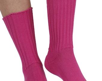 Fremont women's elastic free (soft topped) cotton crew socks in blush