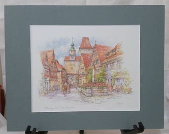 Rothenburg ob der Tauber Ready-To-Frame Matted Watercolor Print