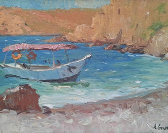 Original Art Impressionism Sea Painting MIDDAY Sunny Plein Air Yacht Summer Seascape MARINA painting Bay Oil on canvas Sunny SMALL Painting