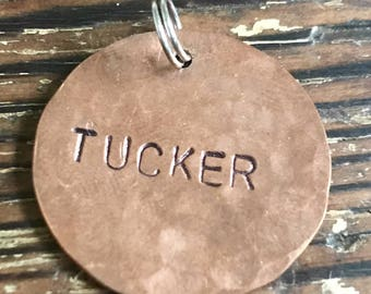 "Pet Name, Hand Hammered - Medium 1"" Custom Pet Id Tag - Personalized Hand-Stamped Dog Name Tag"
