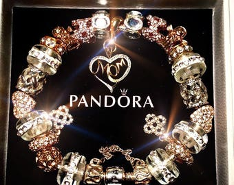 Authentic 925 Silver Pandora~Available NOW! MESH-NEW! Bracelet 14k Gold/Silver Heart