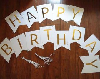 White Birthday Banner, Happy Birthday Banner, Birthday Banner, Birthday, Birthday Party Banner, Happy Birthday Sign