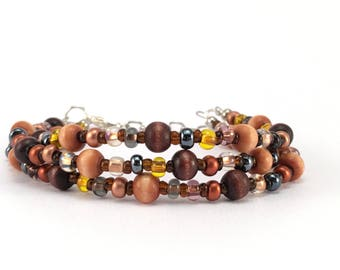Brown Bracelet, Earth Tones, Copper Jewelry, Beaded Bracelet, Beaded Jewelry, Seed Bead Jewelry, Boho Look, Gift for Mom, Gift for Wife