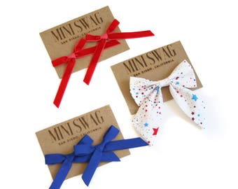 Patriotic Headbands // Red White and Blue Hair Bows // 4th of July Girls Hair Clips // Baby Girl Headbands // Baby Gift Set // 1st Birthday