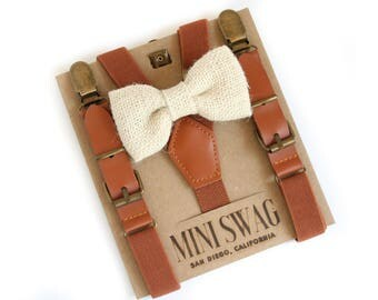 Cream Beige Burlap Bow Tie, Ring Bearer Outfit, Leather Suspenders, Toddler Suspenders, Boys Bow Tie and Suspender Set, Rustic Wedding
