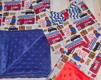 Baby Boy Gift Set- Paddington Bear- Baby Boy- Minky Baby blanket, bib, and burp cloth