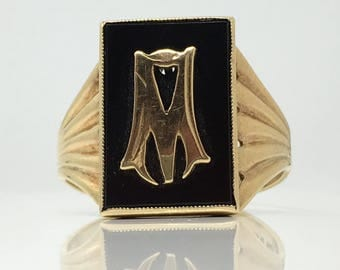 """Vintage 1965 Mourning Ring Signet 9ct Yellow Gold with """"M"""" on top of Black Onyx Signet Size Y (USA 12) *Free Shipping*"""