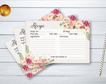 Recipe Card Bridal Shower Floral Printable Games Peach and Pink Peonies Boho flowers Wedding Card Instant Download BG-022