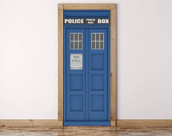 Dr Who Door Mural, Tardis Door Wrap, Peel and Stick, Door Decal, Door Sticker,
