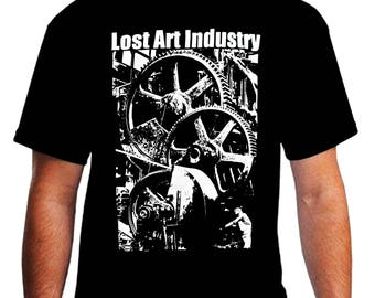 Lost Arts Industry Mens Shirt Diesel Steampunk Industrial Post Punk 1929 Chicago Factory