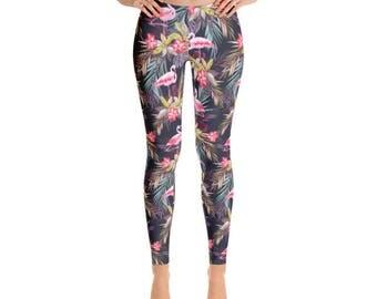 Tropical Flowers & Flamingo Leggings - Premium Womens Leggings - Fancee Pants Co.