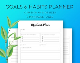 Goal Planner Printable, Habit Tracker, morning & evening rituals, health goals, financial goals, goal tracker, A4, A5, printable inserts