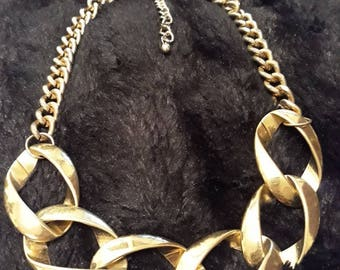 Large And Small Link Gold And Silver Coloured Necklace