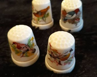 4 Bone China Thimbles With Bird Designs