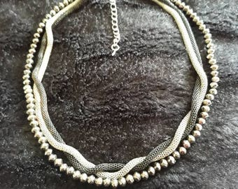 Vintage Multistrand Necklace With Black And Silver Metal Strands And A Beaded Strand