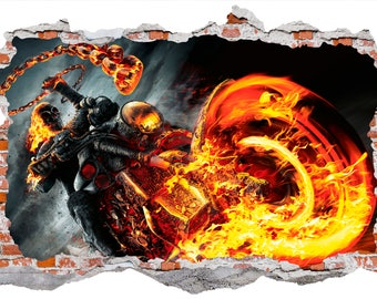 Ghost Rider Spirit Of Vengeance Smashed Wall Sticker, Wall Decals