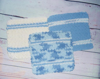 Set of 3 Hand Crocheted 100% Cotton Dish Cloths, Wash Cloths
